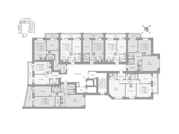 Планировки Жилой комплекс ДВЕ ЭПОХИ, корпус 3 - Планировка 3-9 этажей, 4 б/с