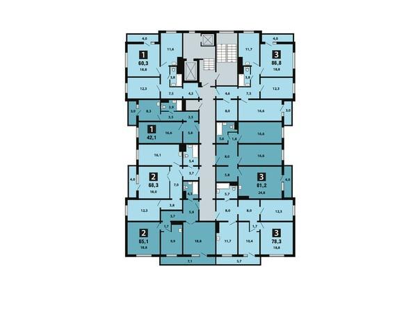 Планировки Жилой комплекс Светлогорский пер, 1 дом, 1 стр - Планировка 17 этажа