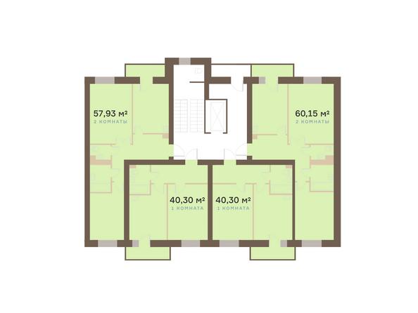 Планировки Жилой комплекс Академгородок, дом 1, корп 1 - Корпус 1. Подъезд 4. Планировка типового этажа