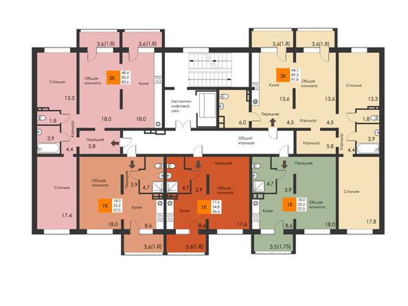 Планировки Жилой комплекс РЕВОЛЮЦИЯ - Подъезд 2. Планировка типового этажа