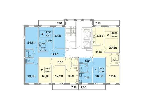 Блок-секция 1, планировка типового этажа