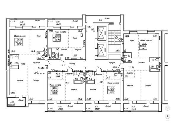 Планировки Жилой комплекс МОТОР, корпус 2 - Блок-секция 2. Планировка типового этажа
