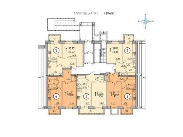 Планировка 1 этажа. Блок-секция 4