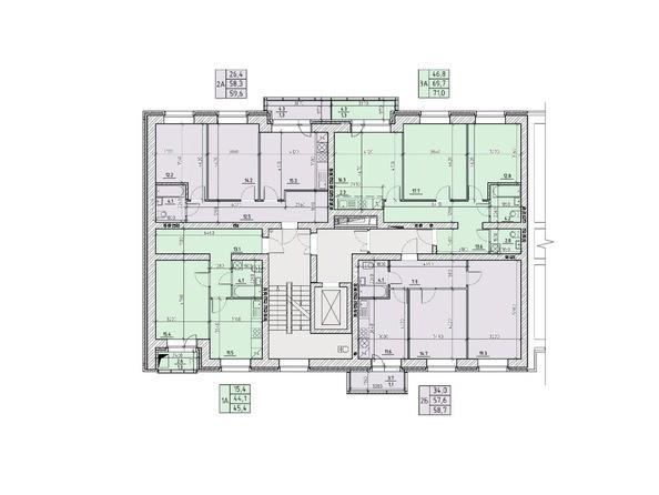 Подъезд №1. Планировка типового этажа