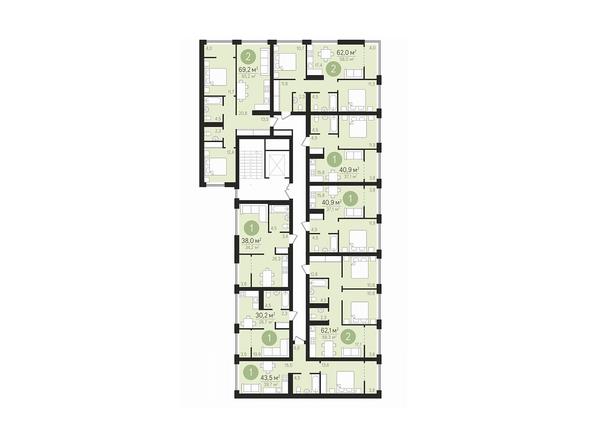 Планировки Жилой комплекс ЕВРОПЕЙСКИЙ БЕРЕГ, дом 22 - Подъезд 3. Планировка 2-7 этажей