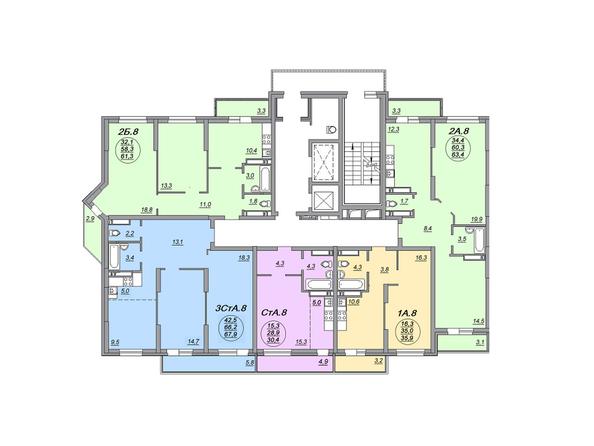 Планировки Жилой комплекс МАТРЕШКИН ДВОР 105, дом 2, 1 этап - Блок-секция 2. Планировка 19-22 этажей
