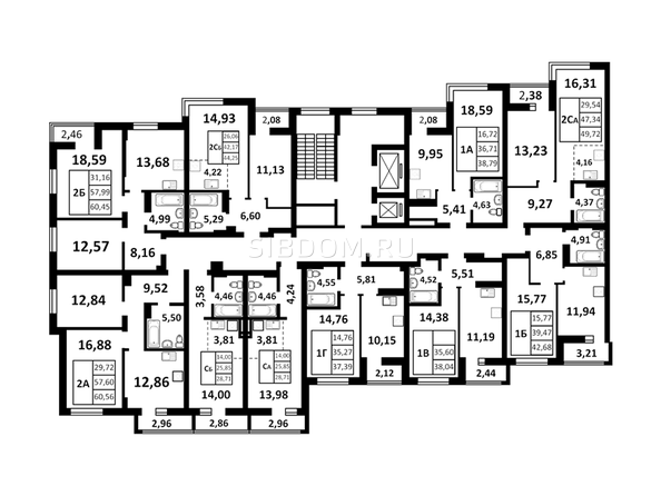 Планировки Жилой комплекс ЗОРКИЙ, 2 оч - Подъезд 1. Планировка 2 этажа