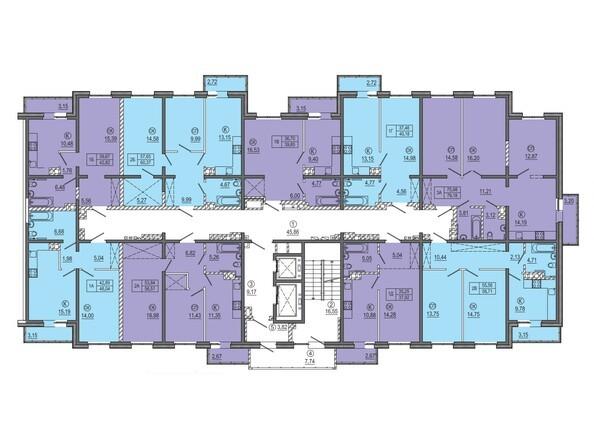 Планировки Жилой комплекс РЕКОРД, 2 этап - МКД 3. Планировка типового этажа.