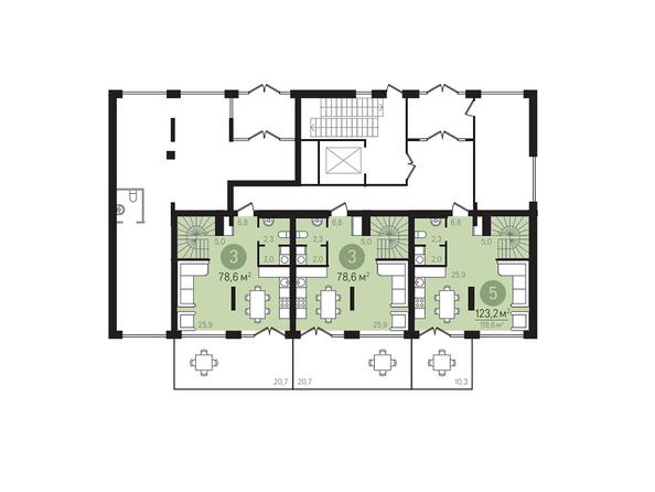 Планировки Жилой комплекс ЕВРОПЕЙСКИЙ БЕРЕГ, дом 23 - Подъезд 2. Планировка 1 этажа