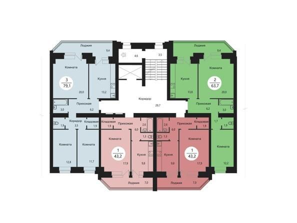 Планировки Жилой комплекс СЭЛФОРТ, 2 оч - Блок-секция 7. Планировка типового этажа