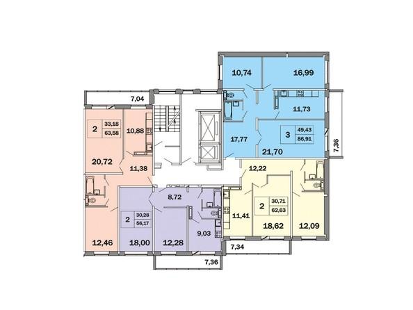 Планировки Жилой комплекс ЯСНЫЙ, дом 1 - Блок-секция 4. Планировка типового этажа