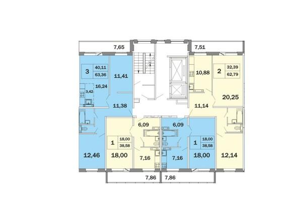 Блок-секция 2 , планировка типового этажа
