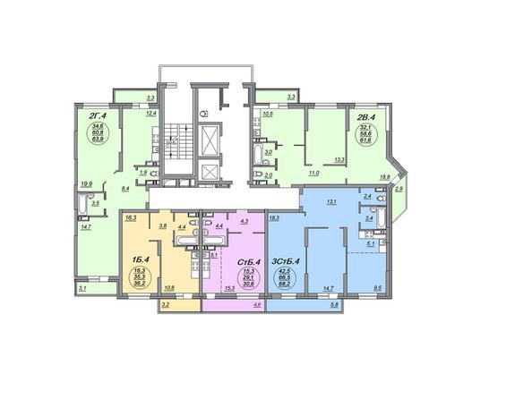 Планировки Жилой комплекс МАТРЕШКИН ДВОР 105, дом 2, 1 этап - Блок-секция 1. Планировка 8-10 этажей