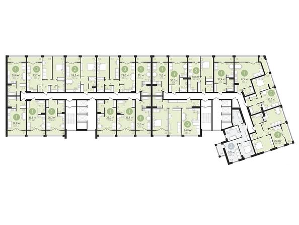 Планировки Жилой комплекс ПАНОРАМА, дом 3 - Планировка 6-15 этажей
