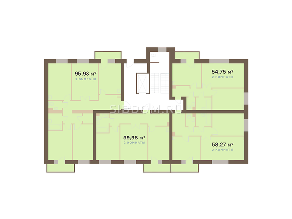 Планировки Академгородок, дом 1, корп 1 - Корпус 1. Подъезд 1. Планировка типового этажа