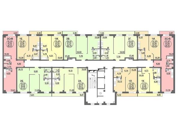 Планировки Жилой комплекс МАТРЕШКИН ДВОР 95/4, дом 1, 1,2 б/с - Блок-секция 2. Планировка 14 этажа