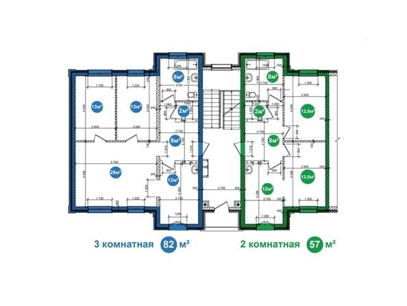 Планировка 2,3-комнатной квартиры на 1 этаже