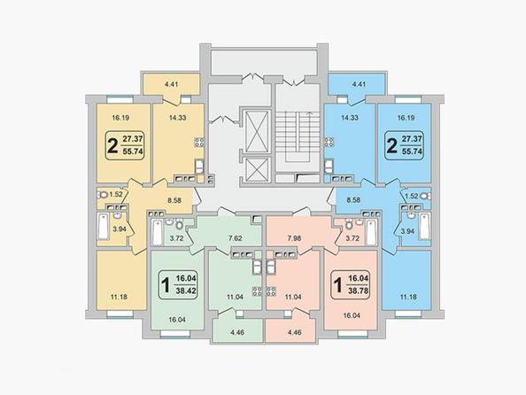 Планировки ГРАНД-ПАРК, б/с 2-1 - Блок-секция 2-1. Планировка 10-17 этажей