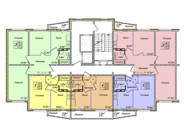 Планировки Жилой комплекс ВЕНЕЦИЯ-2, дом 5 - Подъезд 2. Планировка 1-12 этажей