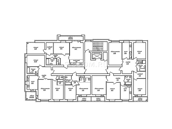 Планировки Жилой комплекс ПАРКОВЫЙ, Б/С 1,2 - Блок-секция 2. Планировка типового этажа