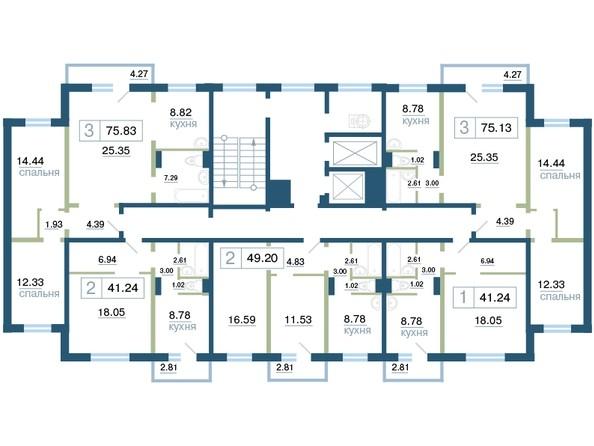 Планировка типового этажа секция 2