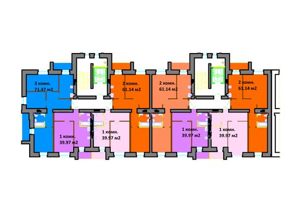 Планировки Жилой комплекс СЕРЕБРЯНЫЙ БЕРЕГ, дом 12 - Подъезд 1-2. Планировка типового этажа