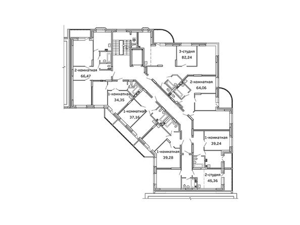 Блок-секция 2. Планировка 2 этажа