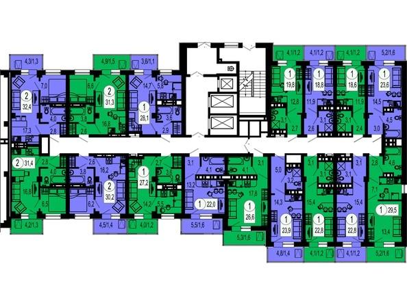 4 секция. Планировка 7 этажа
