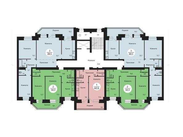 Планировки Жилой комплекс СЭЛФОРТ, 2 оч - Блок-секция 8. Планировка типового этажа