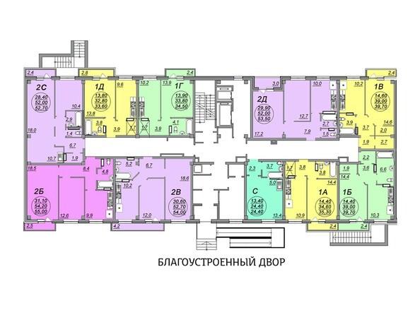 Планировки Жилой комплекс АЭРОПОРТ, дом 1 - Блок-секция 3. Этаж 1