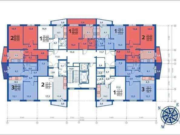Планировки Жилой комплекс МОСКОВСКИЙ ПРОСПЕКТ, дом 11 - Планировка типового этажа