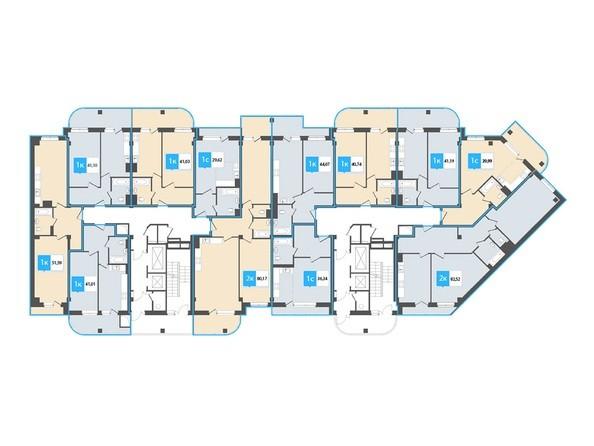 Планировки Жилой комплекс Нарымский квартал (Дом на Плановой), 1-2 б/с - Планировка 4-12 этажей