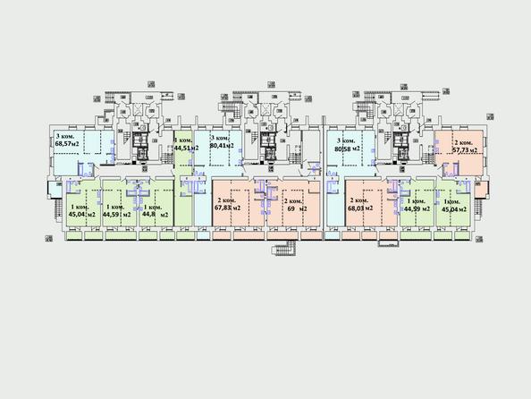 Планировки Жилой комплекс Комарова, дом 13 - Планировка 1 этажа