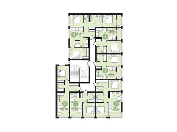 Планировки Жилой комплекс ЕВРОПЕЙСКИЙ БЕРЕГ, дом 23 - Подъезд 4. Планировка 2-6 этажей
