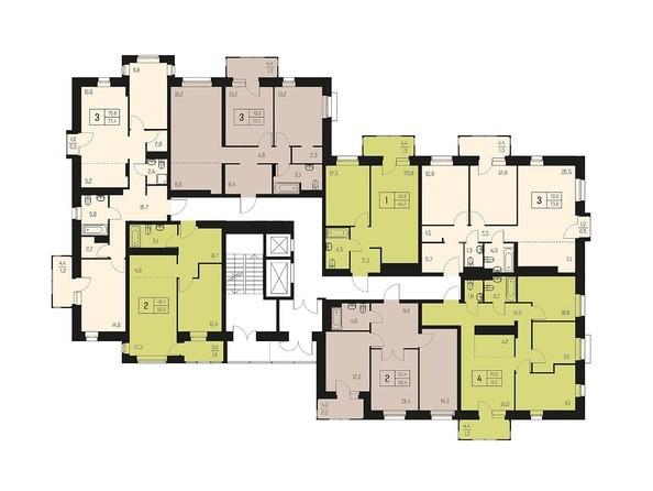 Планировки Жилой комплекс НОВЫЙ КЛЕНОВЫЙ  - Планировка типового этажа