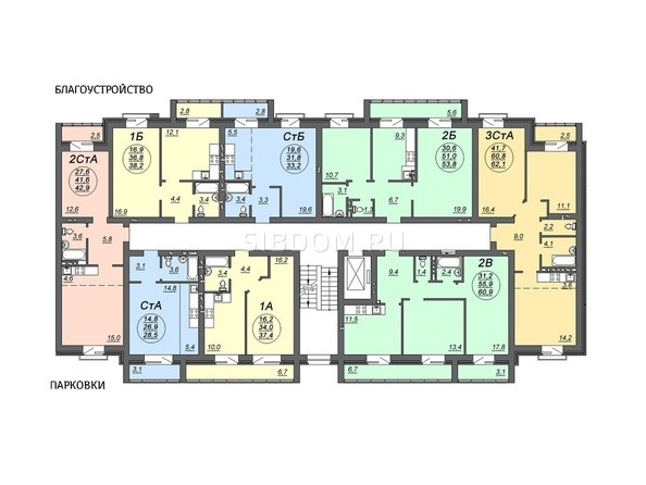 Планировки Жилой комплекс СВОБОДА, дом 5 - Подъезд 2. Планировка 3 этажа