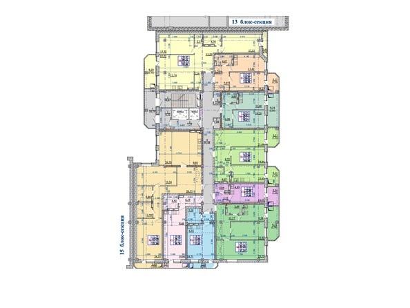 Планировки Жилой комплекс Нарымский квартал (Дом на Плановой), 14-15 б/с - Блок-секция 14. Планировка 11-19 этажей
