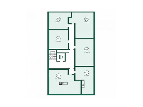 Блок-секция 1. Планировка 8 этажа