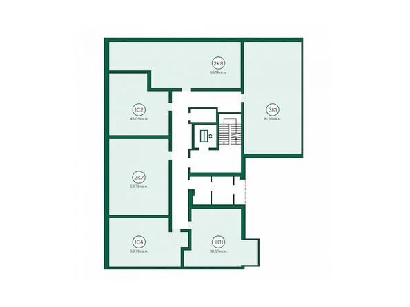 Блок-секция 3. Планировка 2 этажа