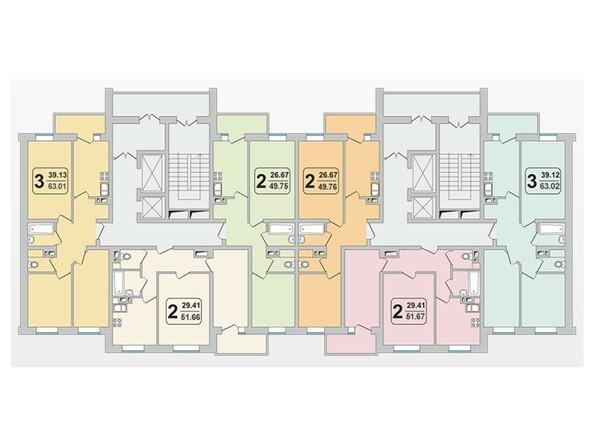 Планировки Жилой комплекс ГРАНД-ПАРК, б/с 1.3 - Планировка 3-9 этажей