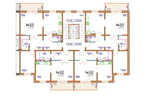 Планировки Жилой комплекс БЕРЁЗОВАЯ РОЩА, 70е, 1 очередь - Блок-секция 4 (подъезд 2). Планировка 4-8 этажа