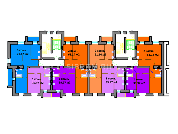 Планировки Жилой комплекс СЕРЕБРЯНЫЙ БЕРЕГ, дом 11 - Подъезд 10-9. Планировка типового этажа