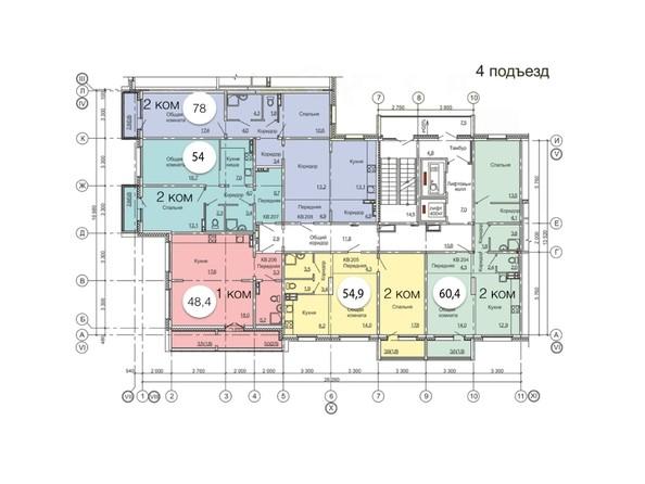 Планировки Жилой комплекс ВРЕМЕНА ГОДА, дом 11 - Планировка типового этажа, 4 б/с