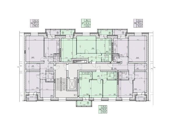 Планировки Жилой комплекс НА ВЫСОТЕ, 1 этап - Подъезд №2. Планировка типового этажа