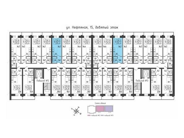 Планировки Жилой комплекс Нефтяная, 15 - Планировка 9 этажа