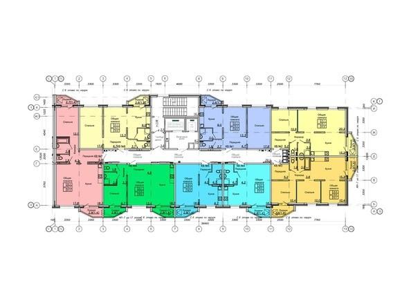 Блок-секция 1. Планировка 9-17 этажей