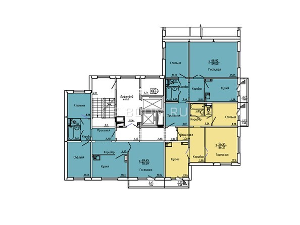 Планировки Жилой комплекс Иннокентьевский, 3 мкр, дом 6 - Подъезд 2. Планировка 2-14 этажей