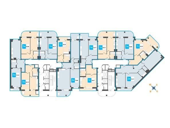 Планировки Жилой комплекс Нарымский квартал (Дом на Плановой), 1-2 б/с - Планировка 13-19 этажей