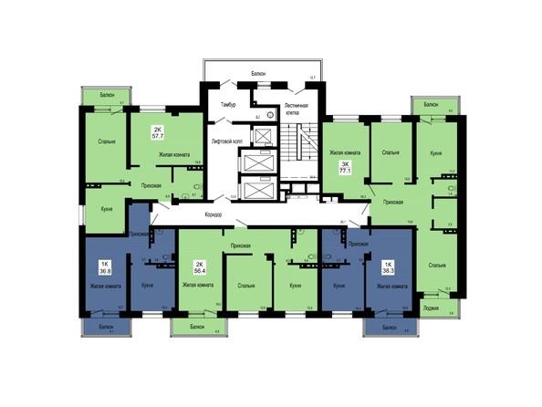 Планировки Жилой комплекс GEO (ГЕО), секции 3-5 - Блок-секция 3. Планировка типового этажа