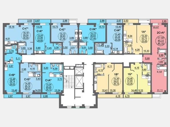 Планировки Жилой комплекс ЛЕТО, дом 3, б/с 1,2 - Блок-секция 1. Планировка 17 этажа